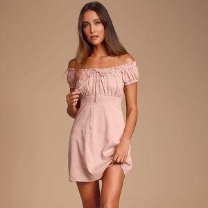Wisteria Blush Pink Embroidered Mini Dress